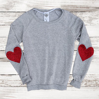 Sequin Heart Elbow Patch Slouchy Sweatshirt Jumper