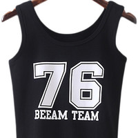 Black Round Neck Numbers Printing Tank Top