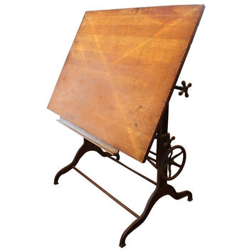 Late 1800s Dietzgen Drafting Table with Adjustable Cast Iron Base
