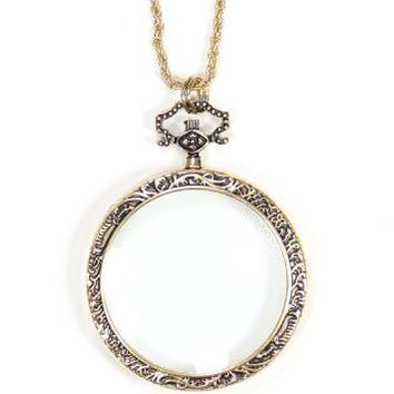 Magnifying Glass Necklace Vintage Gold Tone Antique Pendant NN45 Fashion Jewelry