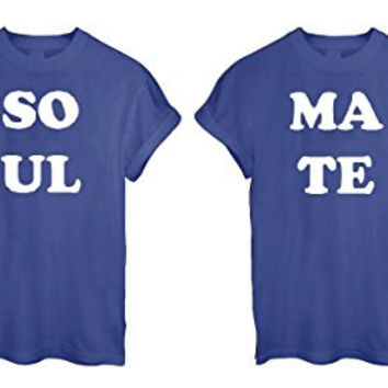 SOUL MATE TOGETHER FOREVER ROMANCE VALENTINE GIFT COUPLE LOVE t shirt Top Tee - Blue