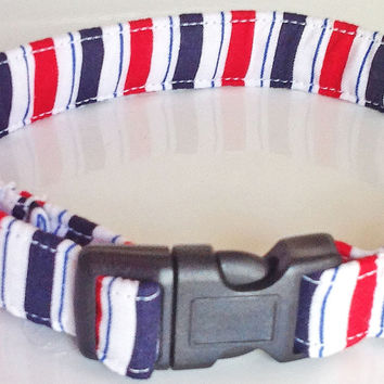Red White & Blue Striped Patriotic Collar for Male & Female Dogs or Cats