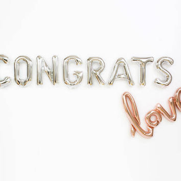 Congrats Love Balloons / Rose Gold Letter Balloons / Engagement Party Decor / Bridal Shower / Bachelorette / Baby Shower /  Graduation