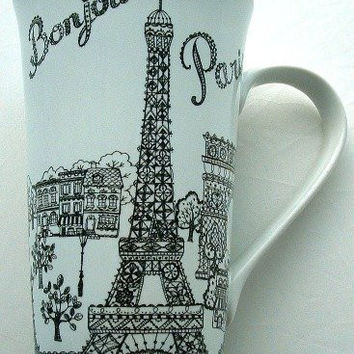 Bonjour Paris Eiffel Tower & Sights Tall Latte Fine China Mug
