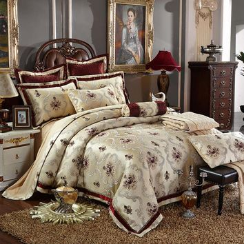 4/6 Pcs Luxury Silk Jacquard Coffee Bedding Sets King/Queen Size Wedding Bedclothes Bedspread duvet Cover /Pillowcases