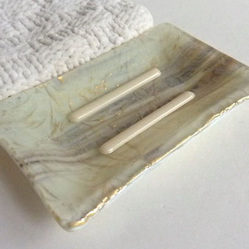 Fused Glass Soap Dish in Gold over French Vanilla & Brown Streaky Glass