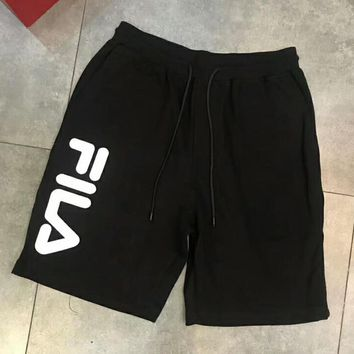 FILA Fashion Women Men Casual Letter Print Sport Shorts Black I-XMCP-YC