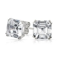 Bling Jewelry Mens CZ Square Asscher Cut Stud Earrings 925 Sterling Silver 8mm