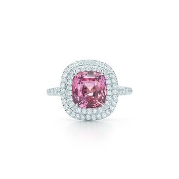 Tiffany & Co. -  Tiffany Soleste unenhanced Padparadscha sapphire ring in platinum with diamonds.
