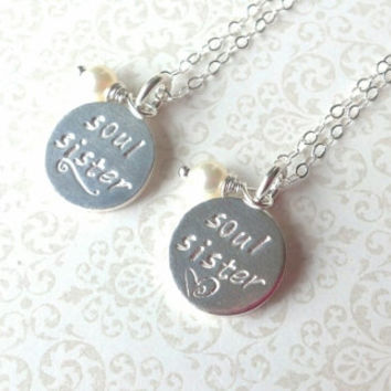 Soul Sisters Hand Stamped Thai Silver Round Disc Charm Necklaces- Set for Both--Gift for Friend