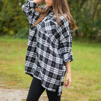 Plaid Perfection Top, Black-White