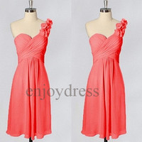 Custom Coral One Shoulder Strap Short Bridesmaid Dresses 2014 Simple Prom Dresses Cheap Evening Gowns Wedding Part Dresses Party Dress