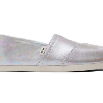 TOMS - Women's Classics Ortholite Drizzle Grey Metallic Canvas Slip-Ons