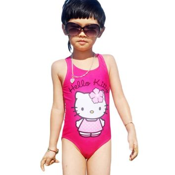 Hello Kitty Girl's Swimsuit For Children Swimwear One Piece Swimming Suit Kids 2015 Brand Clothes Summer Beach Wear SW280-CGR1
