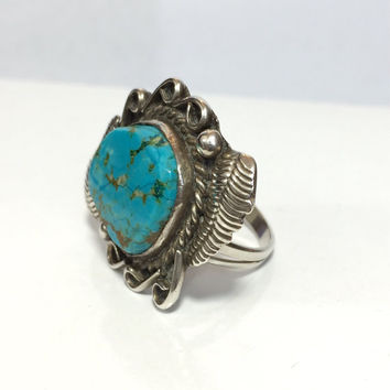 Vintage NAVAJO Blue Turquoise Ring Native American Indian Pawn Sterling Silver Band Southwestern Antique Estate Summer Jewelry