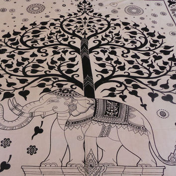 Tree of Life Tapestry, Elephant Tapestry, Throw, Bohemian, Bedspread, Tapestry, Picnic Blanket, Hippie Tapestry, Wall Hanging, Decor - ETD#1