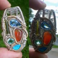 """Sterling Gold Wire Wrapped Gemstones Handmade Pendant """"Weave And Flow"""""""