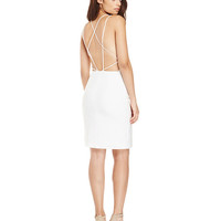 White Halterneck Backless Midi Dress with Side Slit