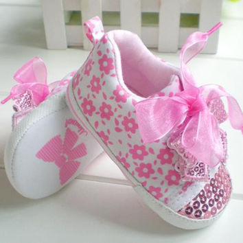 Summer Style pink lace bow infant baby girl shoes sequins first walker baby shoes