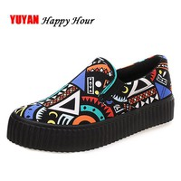 New 2017 Spring Autumn Bohemian Loafers Women Brand Flat Shoes Elegant Casual Canvas Shoes Muffin Bottom Free Shipping Y007