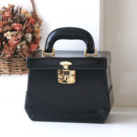 Gucci Bag Black Leather Beauty Case Train Case Authentic Vintage handbag
