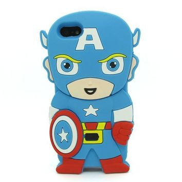 FLG 3D Cartoon Cute Lovely Marvel Captain America Soft Silicone Case Cover Compatible For Apple Iphone 4/4G/4S (Blue)