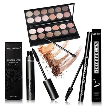 2017 Qibest perfect combination of eye makeup Eye Shadow + Mascara + Eyeliner Bilden Palette Professional Foundation Makeup Gift