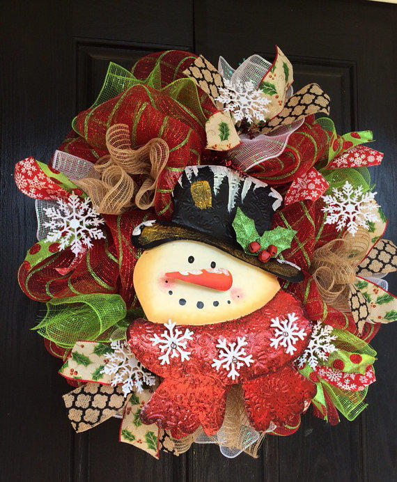 Snowman Deco Mesh Wreath Christmas From Shellyschicdesigns On