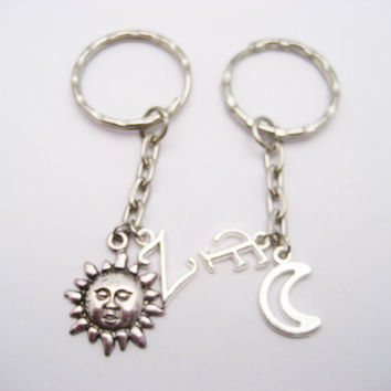 Sun And Moon Keychain Set Best Friends Keychain Set Personalized Couples Keychains Like Day and Night Keychains Mother Daughter Customized