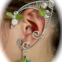 Pair of Silver Woven Wire Garden Faerie Elf Ear Cuffs with Czech Glass Flowers and Leaves Renaissance, Elven