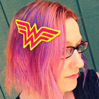 Wonder Super Hero Woman Hair Clip/ Headband - Embroidered