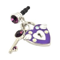 For Apple iPhone 4S 4 Galaxy S Cell Phones & MP3s Purple Heart & Key Silver & Purple Gems Universal