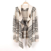 Paisley Print Striped Long Knitted Cardigan Sweater