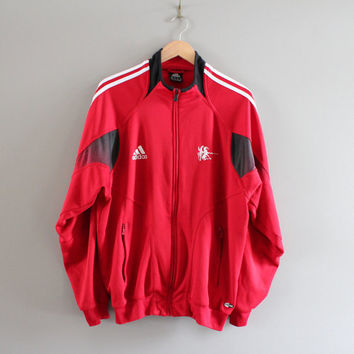Red Adidas Jacket logo 3 Stripes Adidas Fencing Jacket Training Sports  Jacket  Track Jacket Tracksuit Vintage 90s Size L