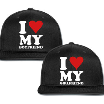 i love my gf bf couple matching snapback cap