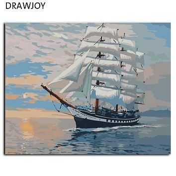 DRAWJOY Framless Wall Art Painting By Numbers Hand Painted On Canvas Abstract Oil Painting Sail Boat Home Decor 40*50cm G423