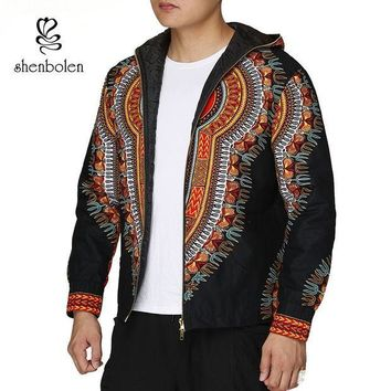 ONETOW Fashion Men Hoodies Cotton Autumn Winter Coat Long Sleeve African Black Dashiki Print Casual Zipper Hooded Sweatshirt Man Jacket