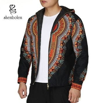DCCKION Fashion Men Hoodies Cotton Autumn Winter Coat Long Sleeve African Black Dashiki Print Casual Zipper Hooded Sweatshirt Man Jacket