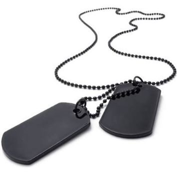 KONOV Army Style 2pcs Dog Tag Pendant Men's Necklace Chain, Black