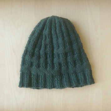 Forest Green Winter Hat, Womens Winter Hat, Forest Green Beanie, Ladies Warm Winter Hat