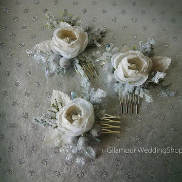 Wedding Hair Comb Winter Wedding Bridal Hair Comb Snowflake Wedding Comb Crystal Rhinestone hair comb