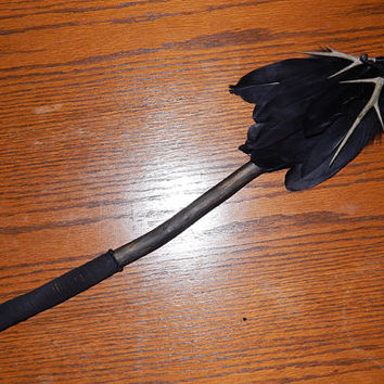 Wand of Darkness - Obsidian and Tourmaline Shaman Wand - Large Wand - Pagan Ceremonial/Ritual Wand - Cedar Wood Wand - Gemstone Wand - OOAK