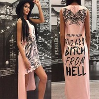 Pink Eagle Monogram Print Irregular High-low Sleeveless Casual Midi Dress
