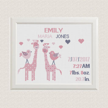 baby girl Birth announcement cross stitch pattern Giraffes with birds hearts baby sampler birthday gift nursery decor wall art