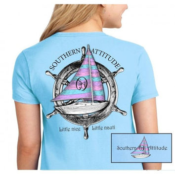 Country Life Southern Attitude Sail Boat Blue Vintage Nautical T-Shirt