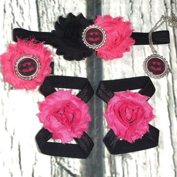 Batman Baby Girl Headband, Bracelet, and Barefoot Sandal Set! Hot Pink and Black