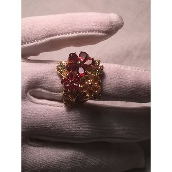 Vintage geniune deep red Bohemian garnet 925 sterling silver Flower Ring