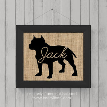"Pitbull ""Pittie"" Love (Option 1) - Burlap or Canvas / Wall Art Print for Dog Lovers: Great Gift / Personalized (Free Shipping)"