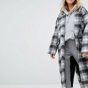 Monki Check Oversized Over Coat at asos.com