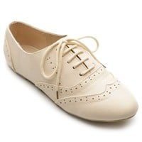Ollio Women's Shoe Classic Lace Up Dress Low Flat Heel Oxford(6.5 B(M) US, Beige)